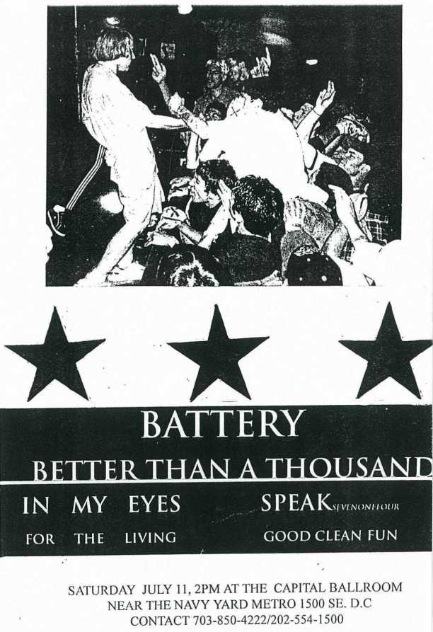 Battery-Better Than A Thousand-Speak 714-In My Eyes-Good Clean Fun-For The Living @ Washington DC 7-11-98