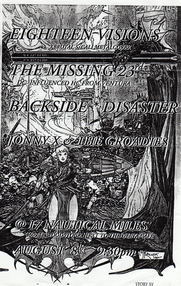 18 Visions-The Missing 23rd-Backside Disaster-Johnny X & The Groadies @ Portland OR 8-8-98