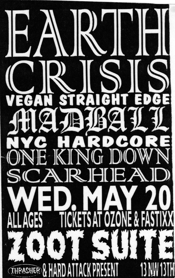 Earth Crisis-Madball-One King Down-Skarhead @ Portland OR 5-20-98