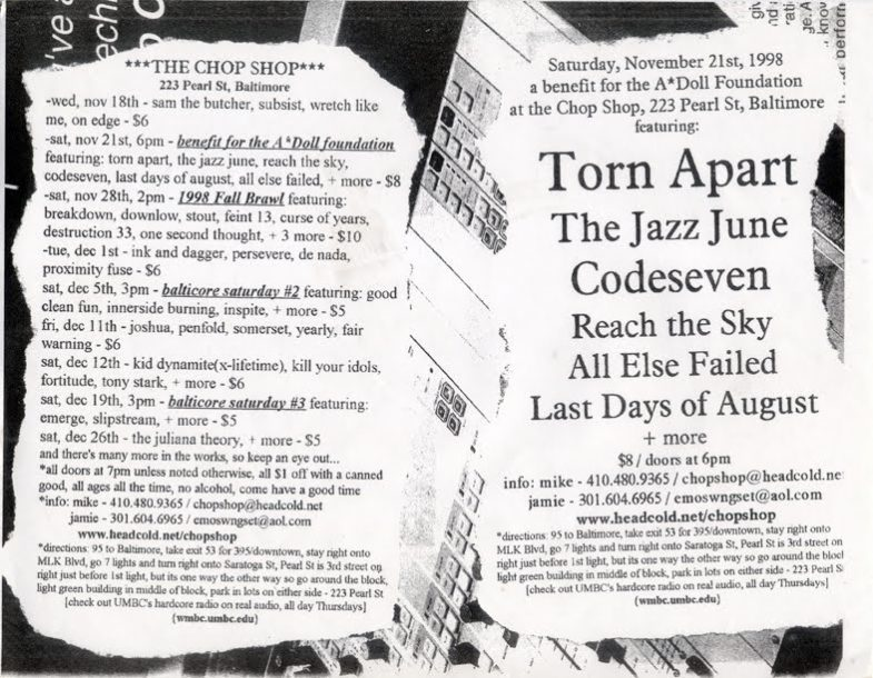 Torn Apart-The Jazz June-Code Seven-Reach The Sky-All Else Failed-Last Days Of August @ Baltimore MD 11-21-98