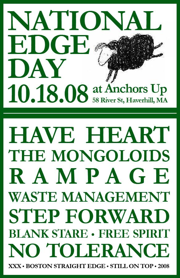 Have Heart-Mongoloids-Rampage-Waste Management-Step Forward-Blank Stare-Free Spirit-No Tolerance @ Haverhill MA 10-18-08
