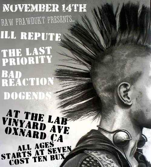 Ill Repute-The Last Priority-Bad Reaction-Dogends @ Oxnard CA 11-14-08