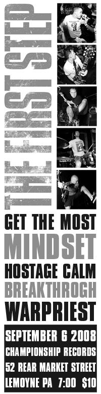 The First Step-Get The Most-Mindset-Hostage Calm-Breakthrough-War Priest @ Lemoyne PA 9-6-08