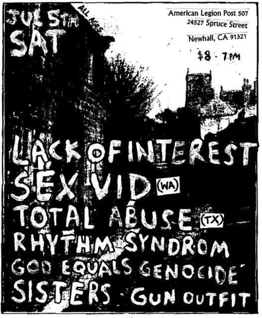 Lack Of Interest-Sex Vid-Total Abuse-Rhythm Syndrome-God Equals Genocide @ Newhall CA 7-5-08