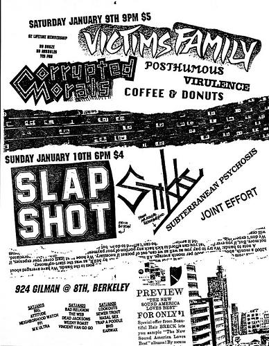 Slapshot-Stikky-Joint Effort-Subterranean Psychosis @ Berkeley CA 1-10-88
