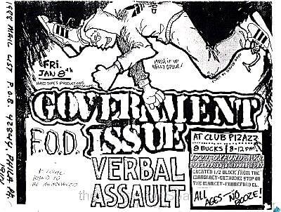 Government Issue-Flag Of Democracy-Verbal Assault @ Philadelphia PA 1-8-88