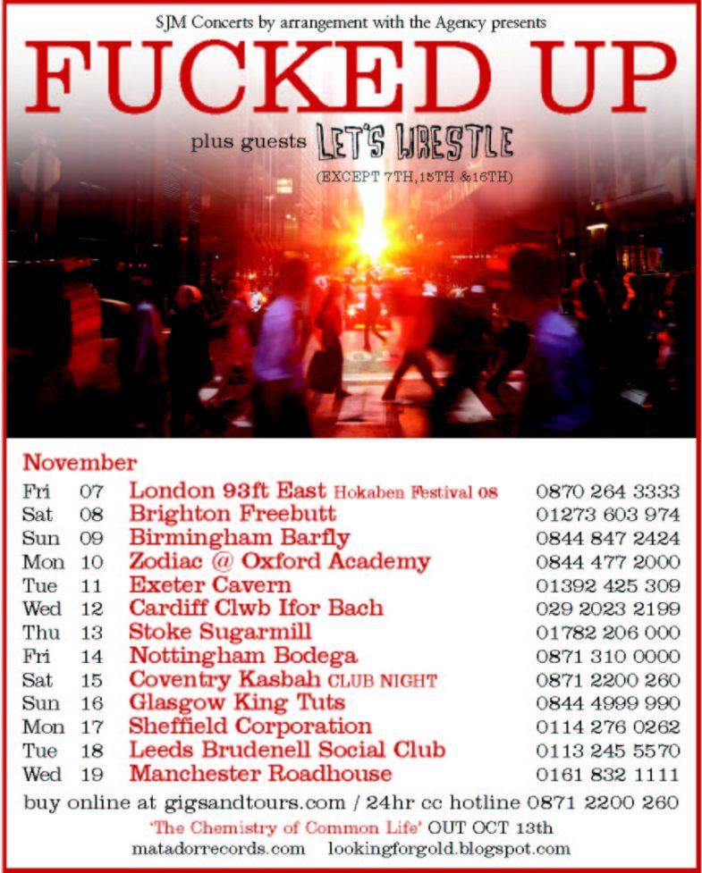 Fucked Up United Kingdom Tour 2008
