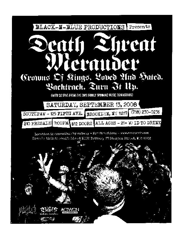 Death Threat-Merauder-Crown Of Kings-Loved & Hated-Backtrack-Turn It Up @ Brooklyn NY 9-13-08