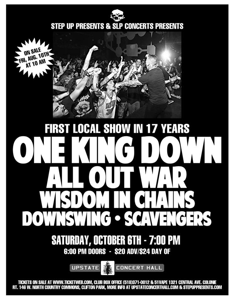 One King Down-All Out War-Wisdom In Chains @ Albany NY 8-10-18