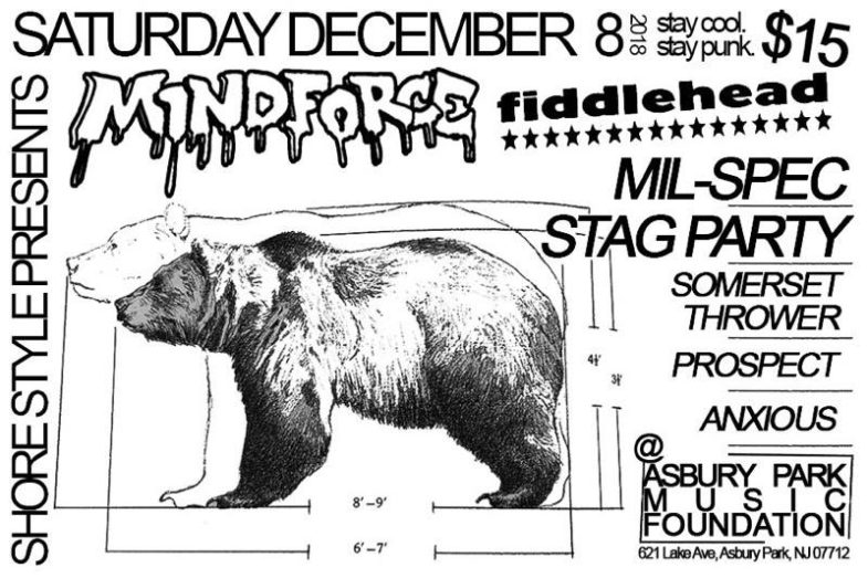 Mind Force-Fiddlehead-Mil Spec-Stag Party-Somerset Thrower-Prospect-Anxious @ Asbury Park NJ 12-8-18