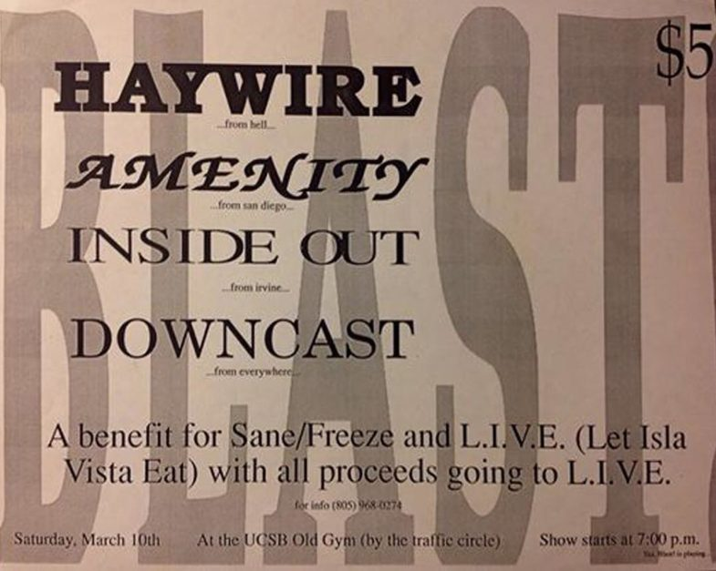 Haywire-Amenity-Inside Out-Downcast @ Santa Barbara CA 3-10-89