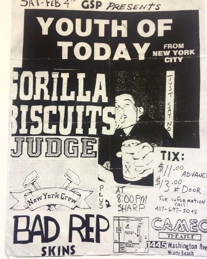 Youth Of Today-Gorilla Biscuits-Judge @ Miami FL 2-4-89