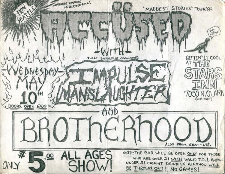 The Accused-Impulse Manslaughter-Brotherhood @ Chicago IL 5-10-89