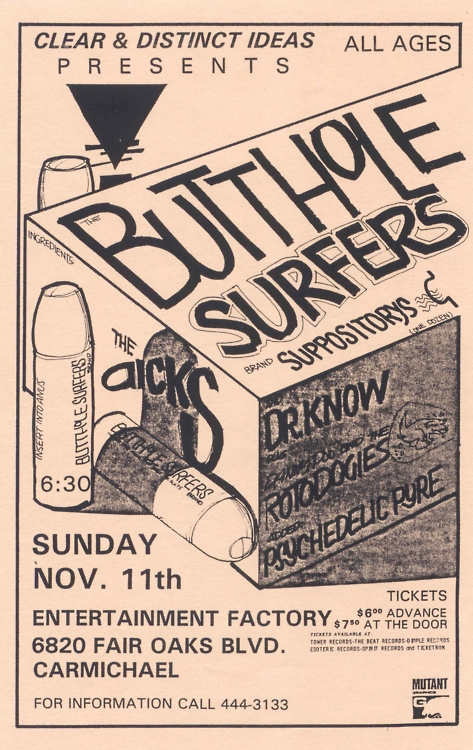 Butthole Surfers-Dr. Know-Roto Dogies-Psychedelic Pyre @ Sacramento CA 11-11-89