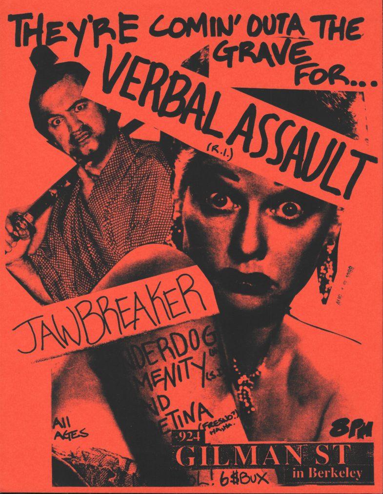 Verbal Assault-Jawbreaker-Underdog-Amenity-Plaid Retina @ Berkeley CA 8-12-89