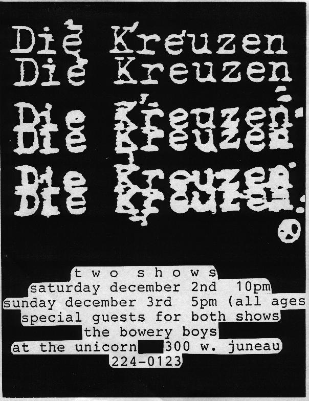 Die Kreuzen @ Chicago IL 12-3-89