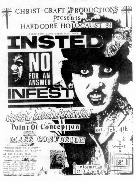 Insted-No For An Answer-Infest-Visual Discrimination-Point Of Conception-Mass Confusion @ Garden Grove CA 2-4-89