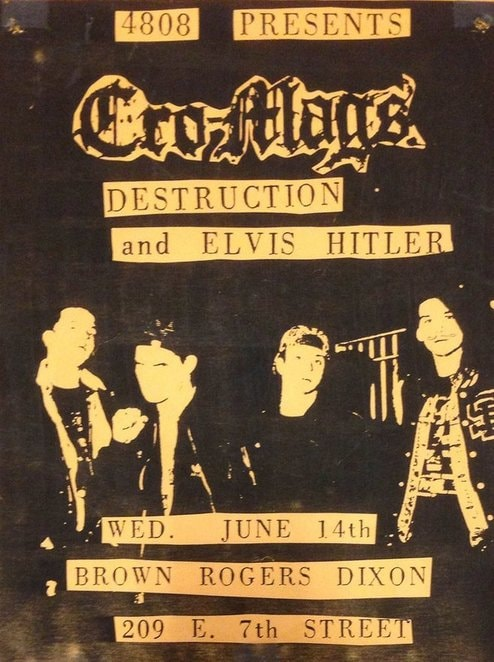 Cro Mags-Destruction-Elvis Hitler @ Winston Salem NC 6-14-89