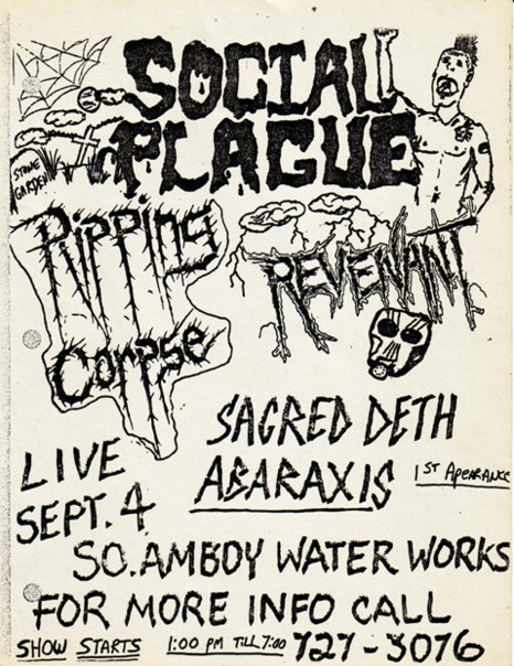Social Plague-Ripping Corpse-Revenant-Sacred Deth-Abaraxis @ South Amboy NJ 9-4-89