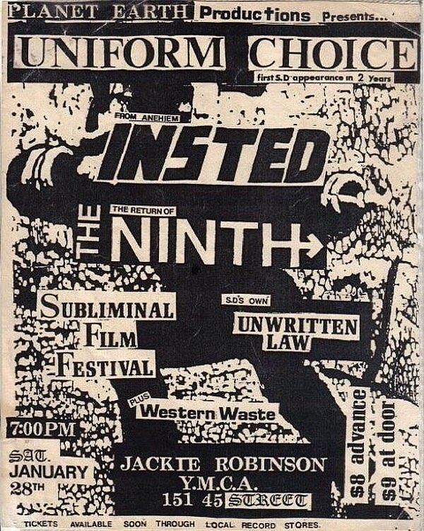 Uniform Choice-Insted-The Ninth-Unwritten Law-Western Waste @ San Diego CA 1-28-89