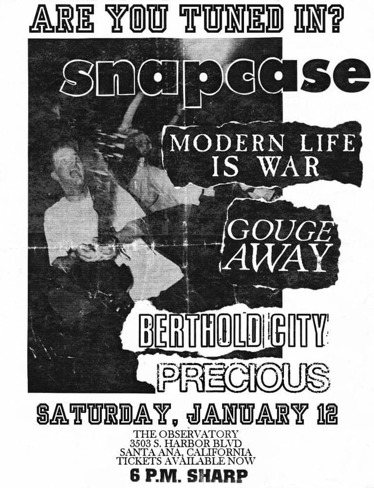 Snapcase-Modern Life Is War-Gouge Away-Berthold City-Precious @ Santa Ana CA 1-12-19
