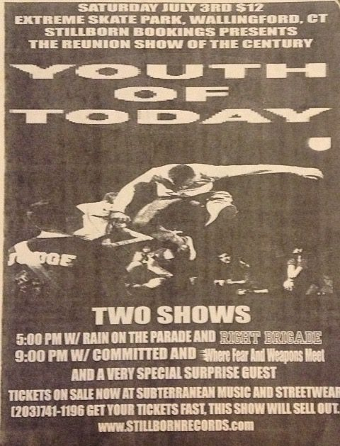 Youth Of Today-Rain On The Parade-Right Brigade-Committed-Where Fear & Weapons Meet @ Wallingford CT 7-3-99