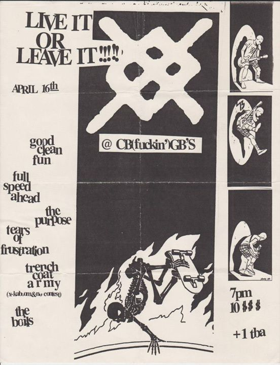 Good Clean Fun-Full Speed Ahead-The Purpose-Tears Of Frustration-Trench Coat Army-The Boils @ New York City NY 4-16-99