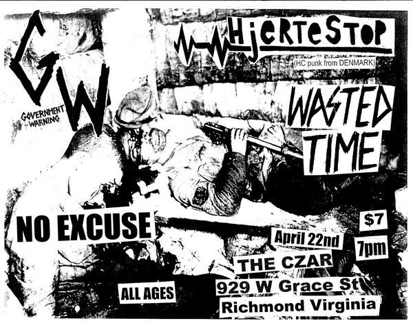 Hjertestop-Government Warning-Wasted Time-No Excuse @ Richmond VA 4-22-09