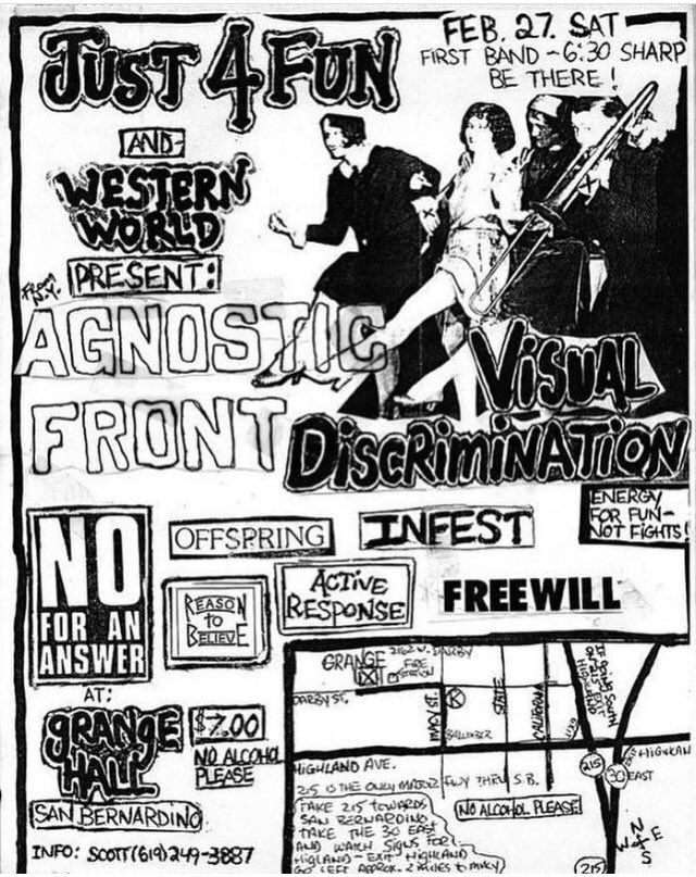 Agnostic Front-Visual Discrimination-No For An Answer-The Offspring-Reason To Believe-Active Response-Infest-Free Will @ San Bernadino CA 2-27-88