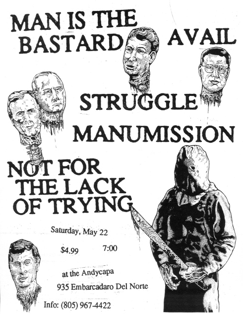 Man Is The Bastard-Avail-Struggle-Manumission-Not For The Lack Of Trying @ Santa Barbara CA 5-22-93