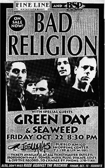 Bad Religion-Green Day-Seaweed @ Tijuana Mexico 10-22-93
