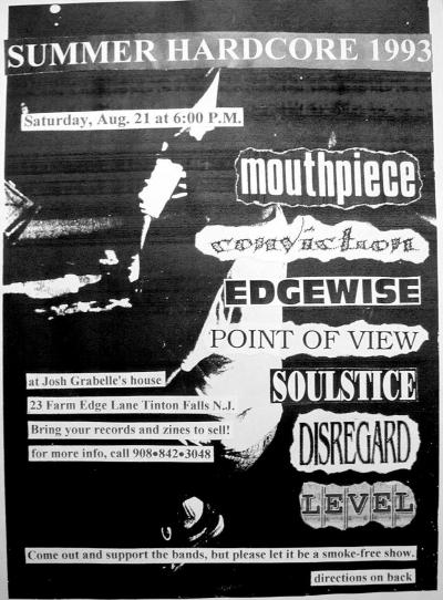 Mouthpiece-Conviction-Edgewise-Point Of View-Soulstice-Disregard-Level @ Tinton Falls NJ 8-21-93