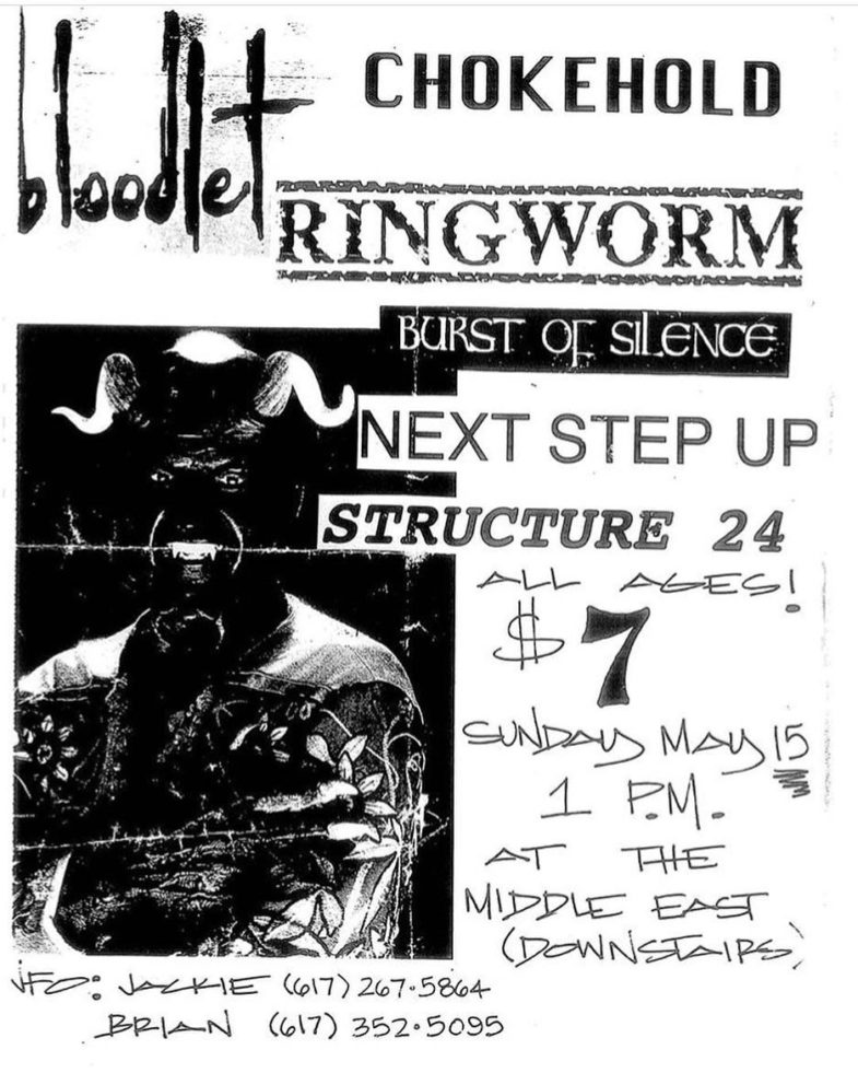 Bloodlet-Chokehold-Ringworm-Burst Of Silence-Next Step Up-Structure 24 @ Boston MA 5-15-93