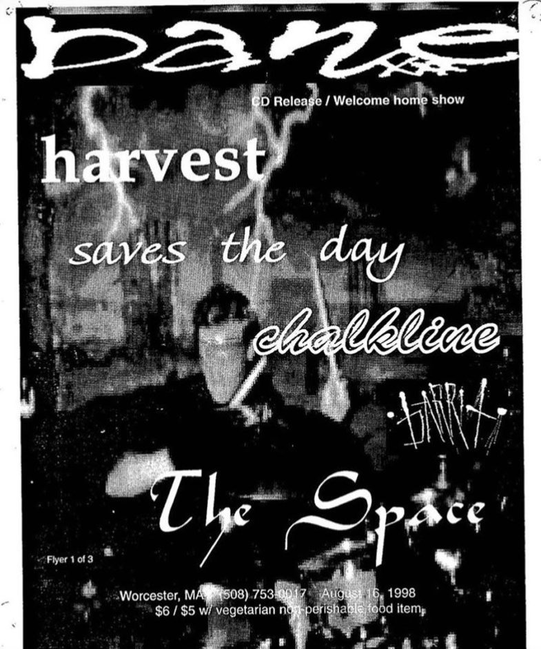 Bane-Harvest-Saves The Day-Chalkline @ Worcester MA 8-16-98