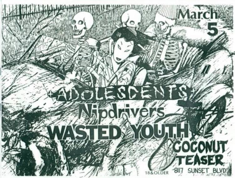Adolescents-Nip Drivers-Wasted Youth @ Hollywood CA 3-5-UNKNOWN YEAR