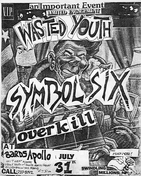 Wasted Youth-Symbol Six-Overkill @ Los Angeles CA 7-31-UNKNOWN YEAR
