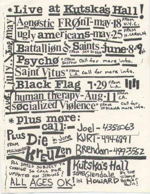Agnostic Front @ Green Bay WI 5-18-85
