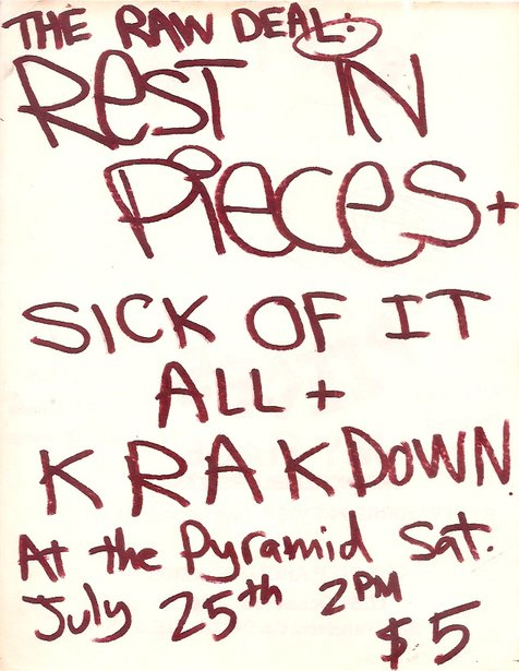 Raw Deal-Rest In Pieces-Sick Of It All-Krakdown @ New York City NY 7-25-87