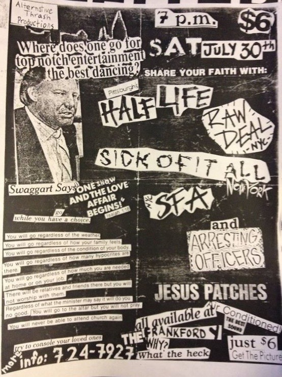 Half Life-Raw Deal-Sick Of It All-SFA-Arresting Officers-Jesus Patches @ Philadelphia PA 7-30-88