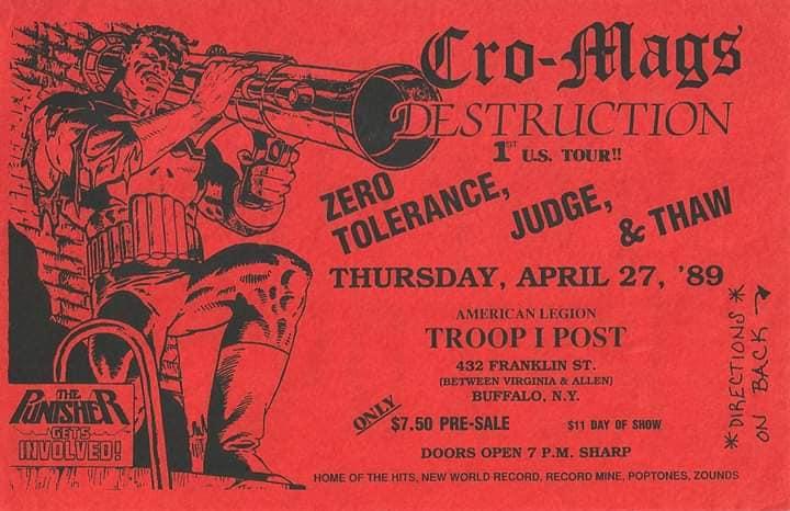 Cro Mags-Destruction-Zero Tolerance-Judge-Thaw @ Buffalo NY 4-27-89
