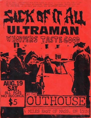 Sick Of It All-Ultra Man-Whoppers Taste Good @ Lawrence KS 8-19-89