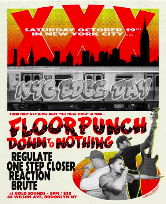 Floorpunch-Down To Nothing-Regulate-One Step Closer-Reaction-Brute @ New York City NY 10-19-19