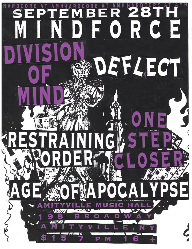 Mind Force-Division Of Mind-Deflect-Restraining Order-One Step Closer-Age Of Apocalypse @ Amityville NY 9-28-19