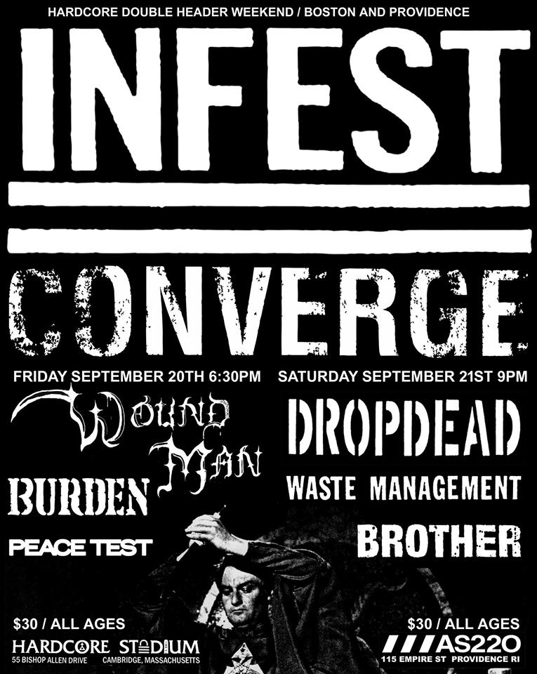 Infest-Converge-Wound Man-DropDead-Waste Management-Brother-Burden-Peace Test @ Cambridge MA 9-20-19