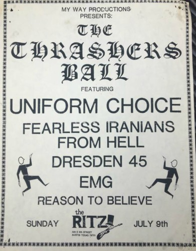 Uniform Choice-Fearless Iranians From Hell-Dresden 45-EMG-Reason To Believe @ Austin TX 7-9-89