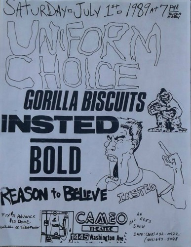 Uniform Choice-Gorilla Biscuits-Insted-Bold-Reason To Believe @ Miami FL 7-1-89