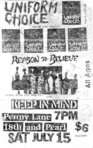 Uniform Choice-Reason To Believe-Keep In Mind @ Boulder CO 7-15-89