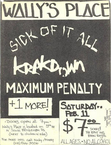Sick Of It All-Krakdown-Maximum Penalty @ Bethlehem PA 2-11-89