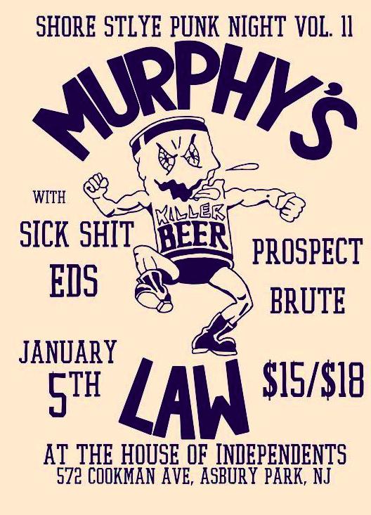 Murphy's Law-Sick Shit-EDS-Prospect-Brute @ Asbury Park NJ 1-5-19