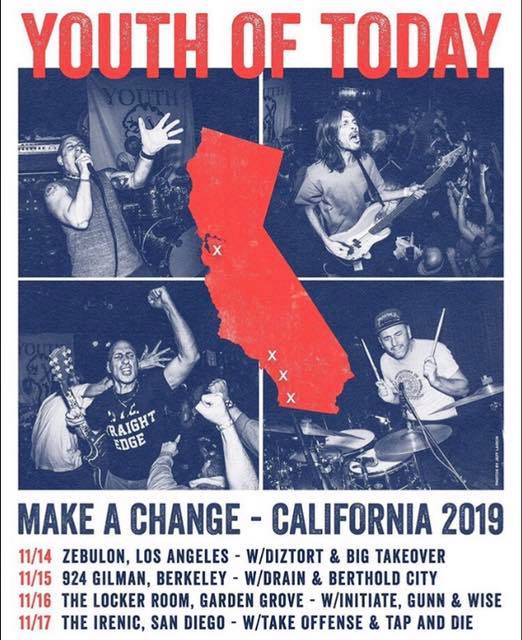 """Youth Of Today """"Make A Change"""" Tour 2019"""